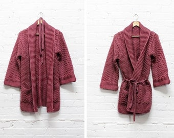 Chunky Knit Cardigan • Vintage Handknit Sweater • Belted Cardigan | T293