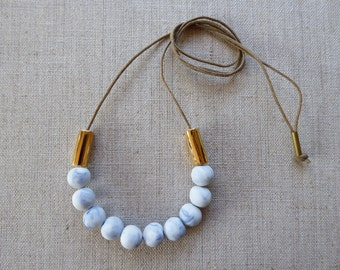 Gold Tube Porcelain Necklace