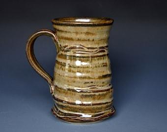 Large Pottery Mug Ceramic Mug Russet Wheat Beer Stein Stoneware C