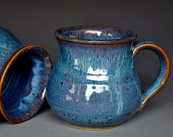 Blue Pottery Mug Ceramic Coffee Mug Stoneware Mug
