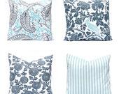 Throw Pillow Covers - Gray Aqua - Decorative Pillow Cover - Sofa Pillow - Aqua Pillow - Stripe Pillow - Charcoal Gray - Floral Pillow