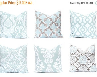 Sale Aqua Pillow Covers, Decorative Throw Pillow Covers, One, Aqua Cushion Covers, Aqua and Brown Accents, Damask Pillow, Floral Pillow