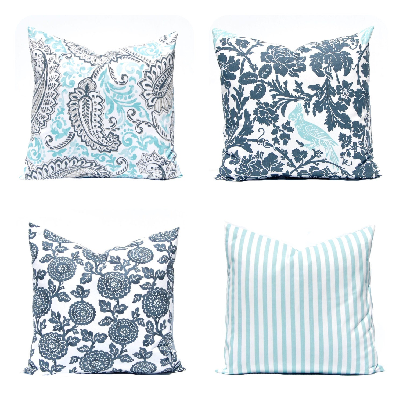 Gray Throw Pillow Covers : Throw Pillow Covers Gray Aqua Decorative Pillow Cover