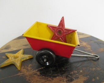Vintage Small Metal Cart with Wheels - Candy Container - Metal Wagon Toy - Red and Yellow