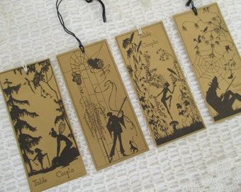 Vintage Bridge Tally Cards - Collage, Altered, Mixed Media Art - Gold Black Fairy Illustration - 4 in Lot