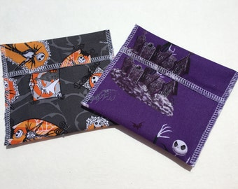 Reusable Snack Bag Set of Two Halloween Jack Skellington Eco Friendly