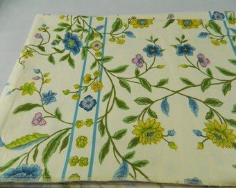 5+ Yds Vintage Mid Century Chambord Floral Drapery Upholstry Fabric, Du Pont Zepel Repeller 1960s Flowers Vines