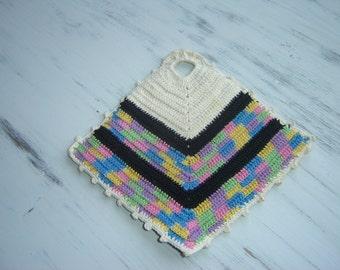 Vintage Hand Crochet Crocheted Pot Holder Hotpad Hot Pad ~ Cotton Crochet