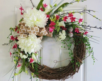 Custom Handmade Summer Wreath | Spring Wreath | Front Door Wreath | Whimsical Wreath | Floral Wreath