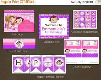 SALE Monkey Girl Birthday Party Package Printable