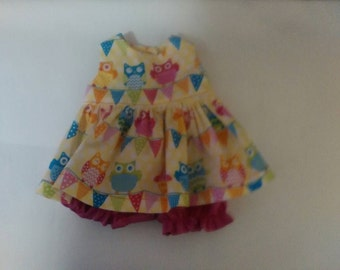 "Baby Alive  And Waldorf Doll Clothes Retro Owl  Dress 10"" 12"" Or 15"""