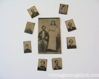 "Lot of 9 Vintage  Tintype Photos 8 Small Locket Size 3/4""  1800s Original  Antique Photos Scrapbooking"