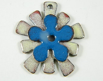 Stacked Blue and Ivory  Enameled Center Drilled Jewelry Components