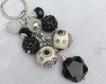 Black and White Beaded Key Chain / Purse Charm / Key Fob / Bag Fob / Purse Swag / Handbag Charm / Purse Jewelry
