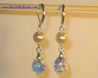 Swarovski White Pearls w/ Swarovski Pear AB Crystal Earrings,Dangle Earrings,Jewelry,Pearl Earrings,Wedding Jewelry,Bridal Earrings,Pearls