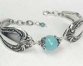 Spoon Bracelet with Turquoise Magnesite, Silverware Jewelry, Chalice 1958