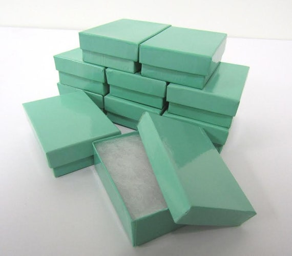 Teal Blue Boxes - 20-count (3.25 x 2.25 x 1 in.) Cotton Filled Jewelry Boxes
