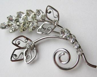 Vintage 50s Delicate Sterling Silver Floral Spray Rhinestone Brooch Pin