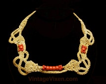 70s Macrame Necklace - Hippie 1970s Tawny Artisan Style Knotwork - Natural Tan & Coral Orange Plastic Beads - Bohemian Jewelry - 46005