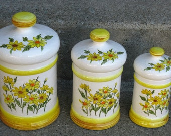 ceramic daisy canister set yellow and white sears roebuck japan cottage kitchen country kitchen 1970s kitchen