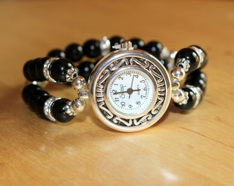 Ladies Watch, Black Watch, Crystal Watch