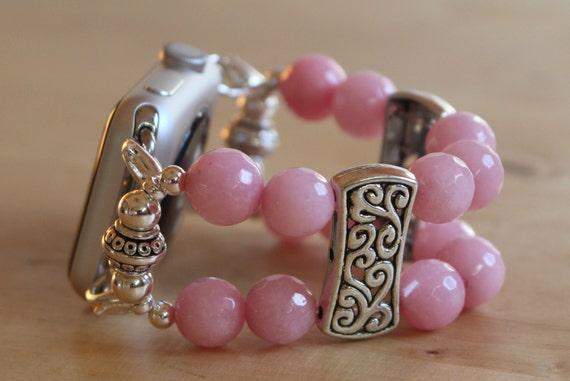 Apple Watch Band, Pink Jade Apple Watch Bracelet, Interchangeable Watch Band, Watch Bracelet, Watch Me Watchband Apple 38mm