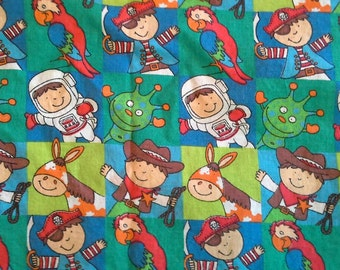 Cowboys, Horses, Astronauts, Aliens, Pirates and Parrots Juvenile Novelty Print Cotton Fabric 1 1/3 Yards X0579