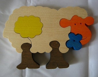 Handmade wooden toy puzzle Sheep