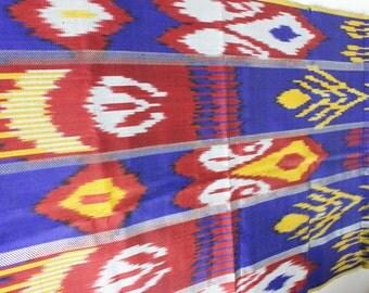 Uzbek indigo silk ikat fabric by meter