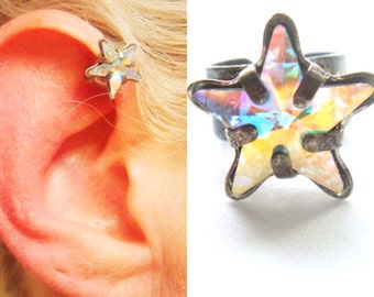Crystal Star Ear Cuff - Ear Cuff - No Pierce Earring - Star Earring - You Choose Color