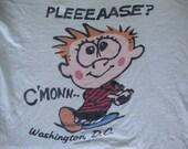 Vintage C'monn Washington D.C. Please Funny Political Cartoon Cute Donald Trump Hillary Clinton non tour punk rock T shirt L
