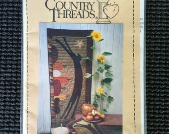 Country Threads Leap Black Cat Pumpkins Quilt Door Banner Applique Fall Harvest Halloween