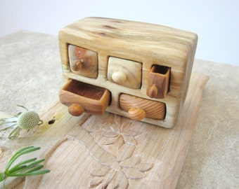 Miniature village drawer, wood carving, home decoration, Wood Hand Carved, Rustic home decoration, Wood sculpture