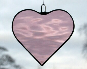 Stained Glass hanging ornament (Love Heart) Light Rose rippling water glass
