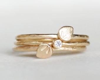 Floating Petals Diamond Rings - Set of Three Gold Stacking Rings - Botanical Stacking Rings