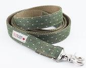 Chambray Olive Dot Dog Leash