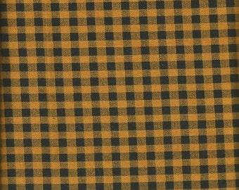 Halloween Black and Orange Checked Fabric   1 yard