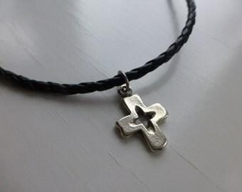 boys confirmation necklace mens silver cross for boy black braided leather jewelry fathers day graduation gift him dad teen boy boyfriend