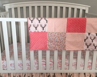 Fawn in the tulips fabric 3pc baby Crib Bedding Set with FREE Monograms Name Sheet two tier skirt aqua coral minky baby deer