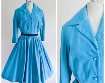 1950s Turquoise blue corded velvet shirtwaister / 50s Victor Josselyn full skirt dress - M