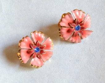 1940s enamel rhinestone flower earrings / 40s pink & blue screw back floral earrings