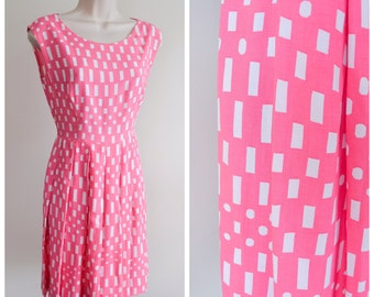 1950s 60s Pink & white rayon pleated day dress / 1960s printed full skirt dress - XS