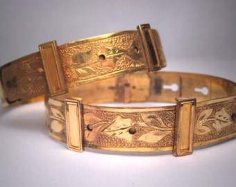 Antique Georgian Victorian Gold Buckle Bracelets Rare Pair Vintage