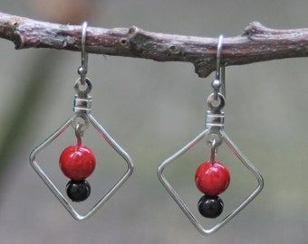 Simple Red & Black Earrings