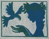 Girl with a Bird Colour Linocut for Elizabeth Reed