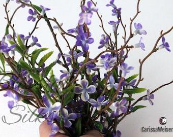 PURPLE Plastic WAXFLOWER Blossom Branches - Artificial Flowers , Flower Crown, Halo, Wedding Crown