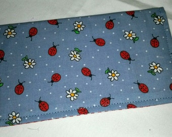 Ladybugs DaisiesCheckbook Cover Coupon Holder Clutch Purse Billfold Ready-Made