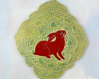 Red Rabbit Cameo,  ceramic wall art tile