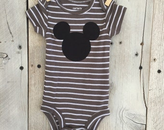 Newborn Bodysuit with Mickey Mouse Inspired Iron On