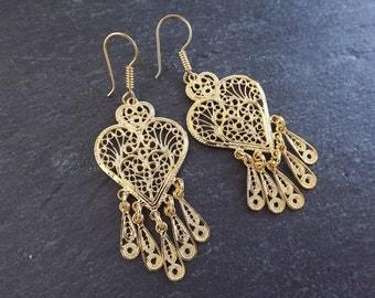 Heart Shaped Telkari Dangly Gold Ethnic Boho Earrings - Authentic Turkish Style